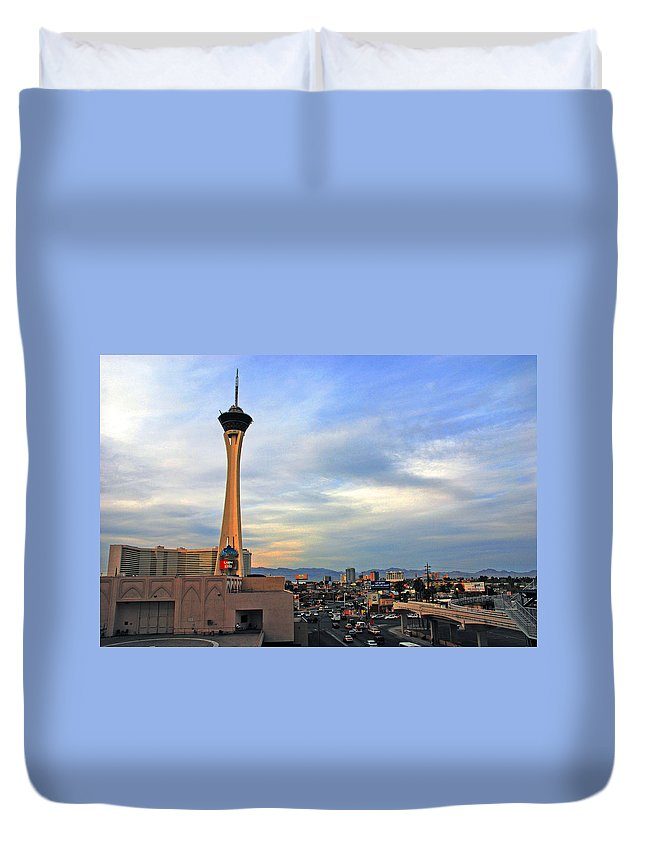 Photography Duvet Cover featuring the photograph The Stratosphere In Las Vegas by Susanne Van Hulst