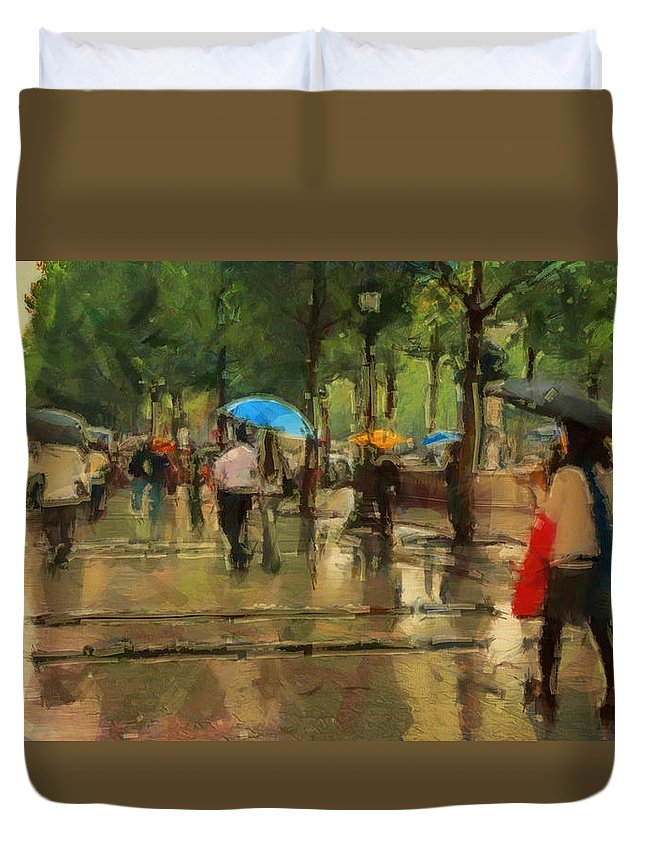 Streets Of Paris Duvet Cover featuring the digital art The Streets Of Paris In The Rain by Sergey Lukashin
