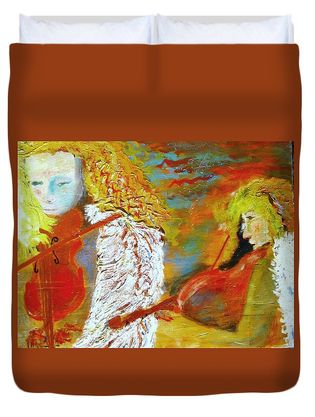 Music Duvet Cover featuring the painting The Strings at Sunset by J Bauer