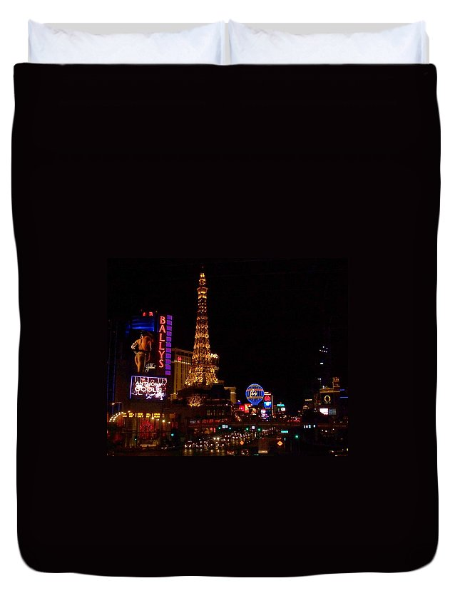 Vegas Duvet Cover featuring the photograph The Strip At Night 1 by Anita Burgermeister