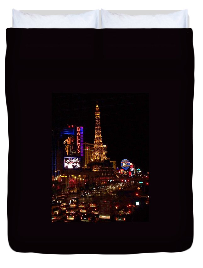 Vegas Duvet Cover featuring the photograph The Strip At Night 2 by Anita Burgermeister