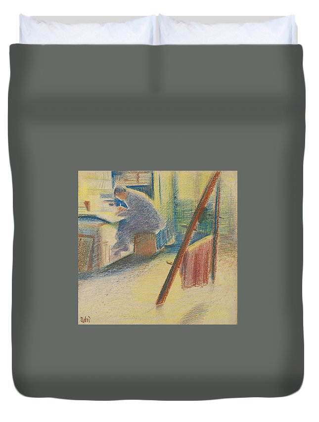 Adriana Bisi Fabbri Duvet Cover featuring the drawing The Studio by Adriana Bisi Fabbri