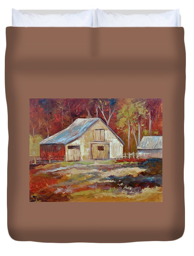 Barns Duvet Cover featuring the painting The Studio by Ginger Concepcion