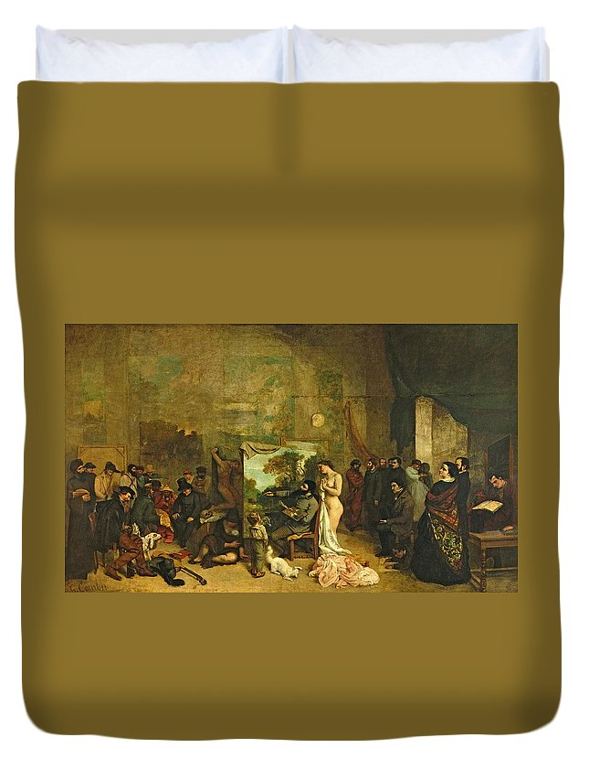 Bay Duvet Cover featuring the painting The Studio Of The Painter, A Real Allegory by Gustave Courbet