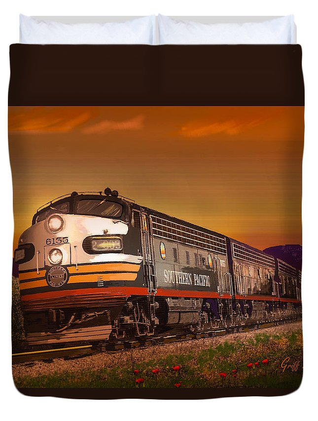 Trains Duvet Cover featuring the digital art The Summer Of 1952 by J Griff Griffin
