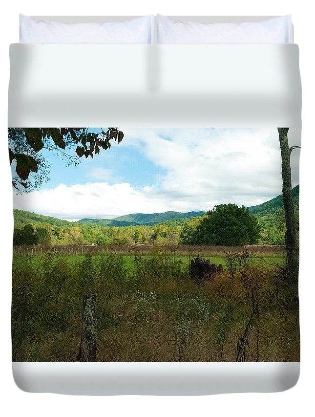 Leaves Turning Duvet Cover featuring the photograph The Summoning by Tim Atchley