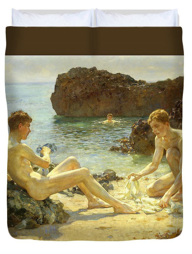 Nude Duvet Cover featuring the painting The Sun Bathers by Henry Scott Tuke