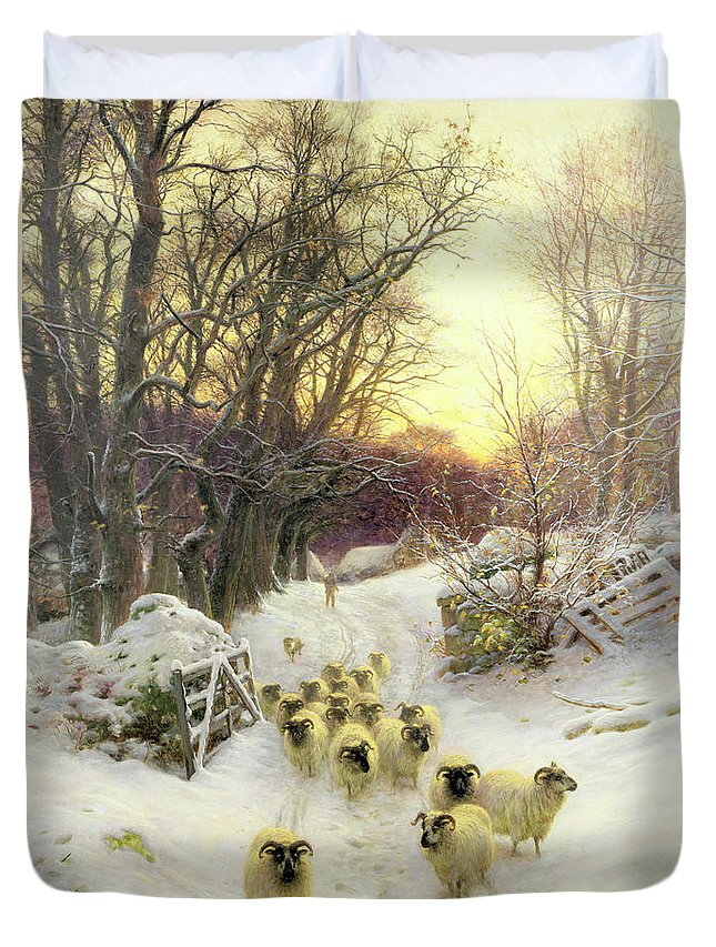 Sunset Duvet Cover featuring the painting The Sun Had Closed the Winter's Day by Joseph Farquharson