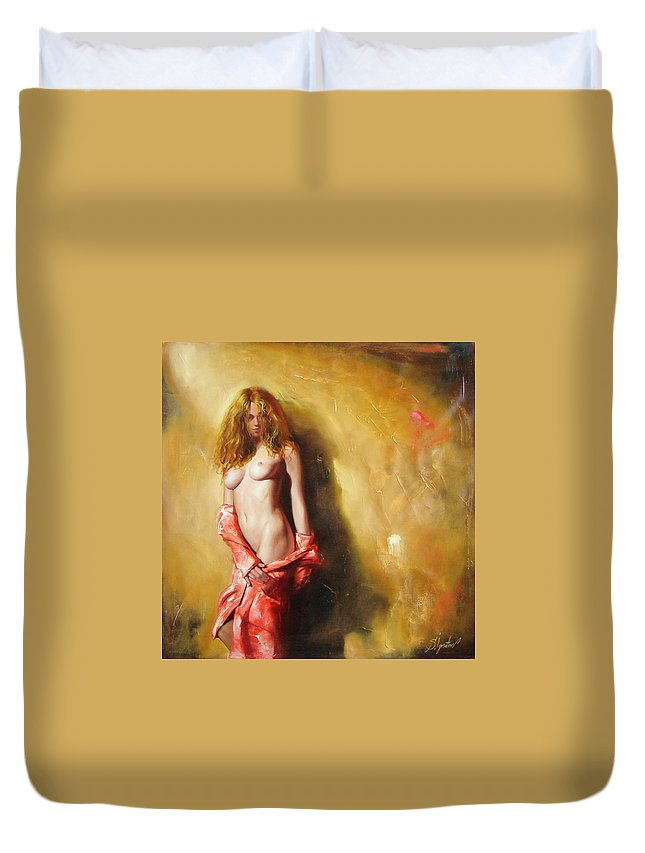 Art Duvet Cover featuring the painting The Sun In Red by Sergey Ignatenko