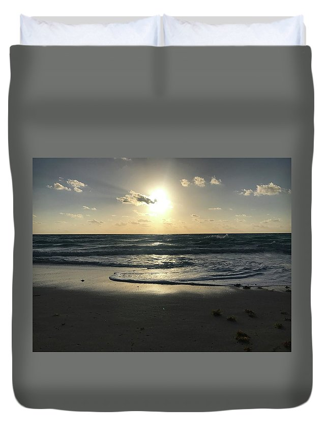 Ocean Duvet Cover featuring the photograph The Sun Is Rising Over The Ocean by Brittany Nicotra