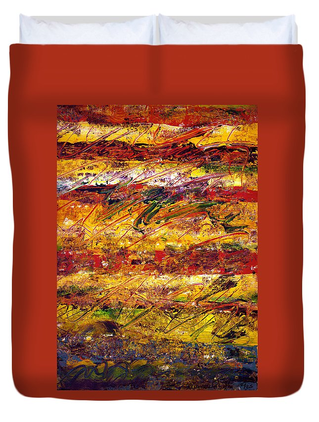 Abstract Duvet Cover featuring the painting The Sun Rose One Step At A Time by Wayne Potrafka
