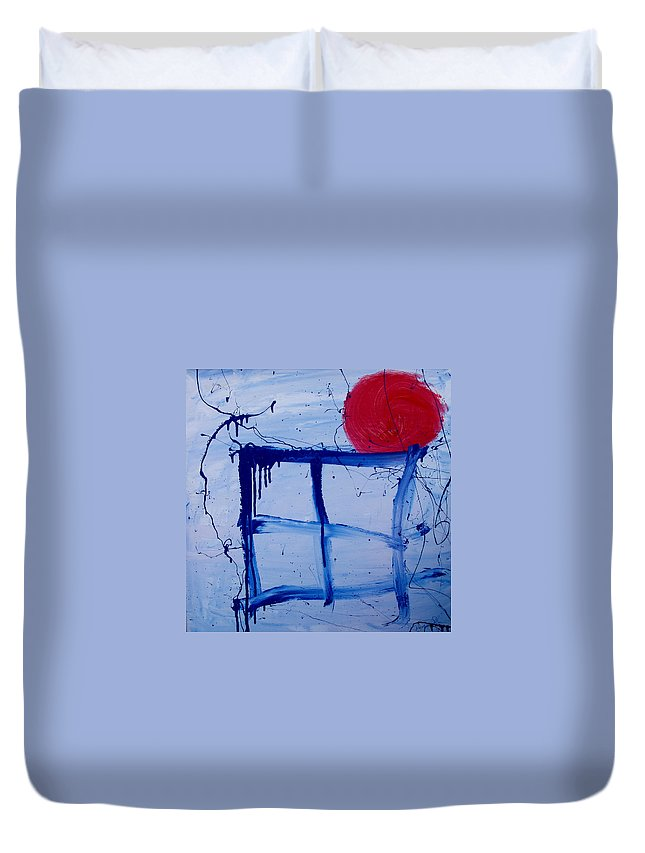 Sun Duvet Cover featuring the painting The Sun Through My Window by Wayne Potrafka