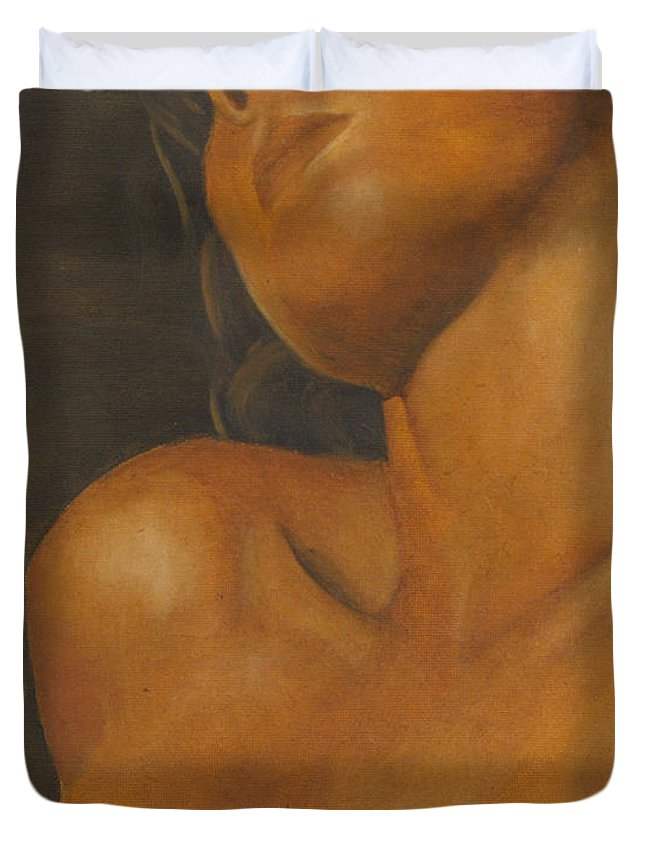 Woman Duvet Cover featuring the painting The Sun Will Set For You by Dana DiPasquale