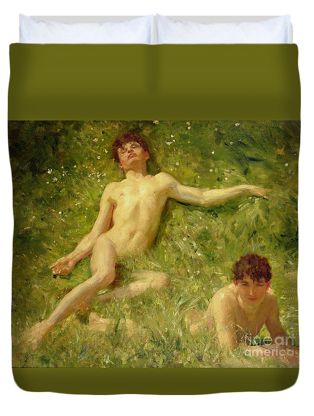 Nubile; Young; Boy; Abandon; Nude; Carefree; Homoerotic; Adolescent; Asleep; Sunbathing; Holiday; Summer; Newlyn School Duvet Cover featuring the painting The Sunbathers by Henry Scott Tuke