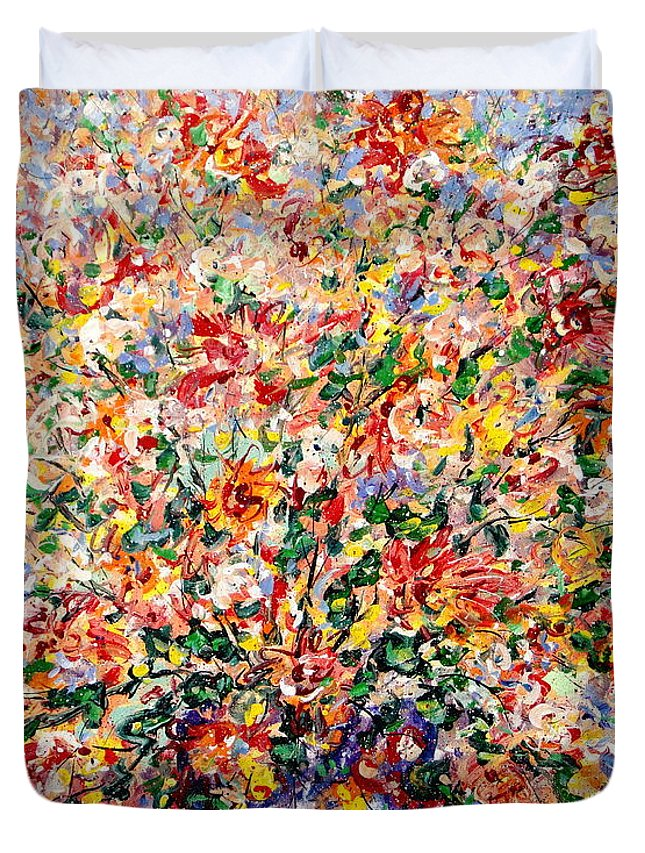 Flowers Duvet Cover featuring the painting The Sunlight Flowers by Leonard Holland
