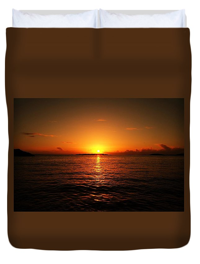Lovely Duvet Cover featuring the photograph The Sunset by J H