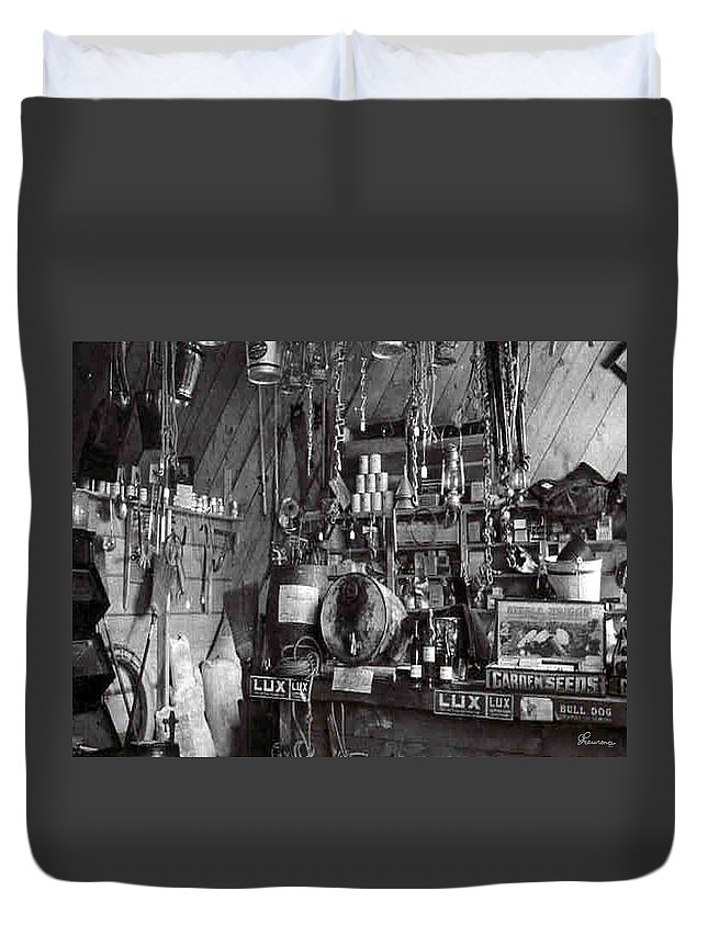 Classic Black And White Old Photo Pioneers Old Days 1900s Old Store Supplies Hardware Duvet Cover featuring the photograph The Supply Store by Andrea Lawrence