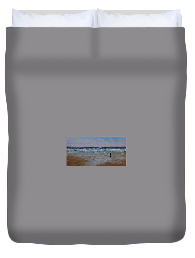 Seascape Duvet Cover featuring the painting The Surf Walker by Frank Wilson