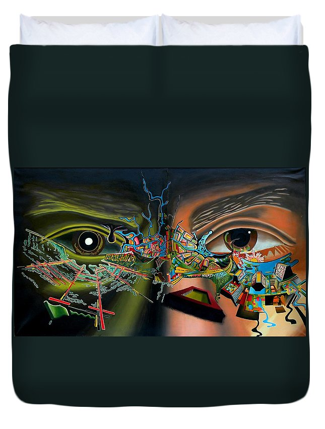Surreal Duvet Cover featuring the painting The Surreal Bridge by Dave Martsolf