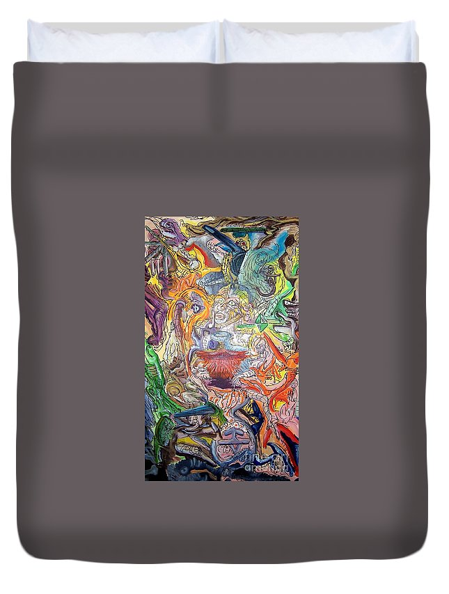 Surrealism Duvet Cover featuring the painting The Surreal Caturday by Timothy Michael Foley