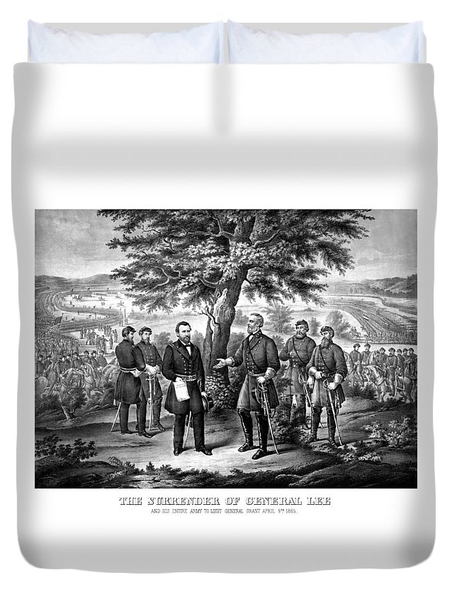 Civil War Duvet Cover featuring the mixed media The Surrender Of General Lee by War Is Hell Store