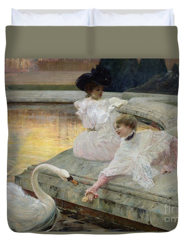 The Swans Duvet Cover featuring the painting The Swans by Joseph Marius Avy
