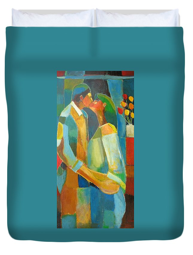 Love Abstract Duvet Cover featuring the painting The Sweet Kiss by Habib Ayat
