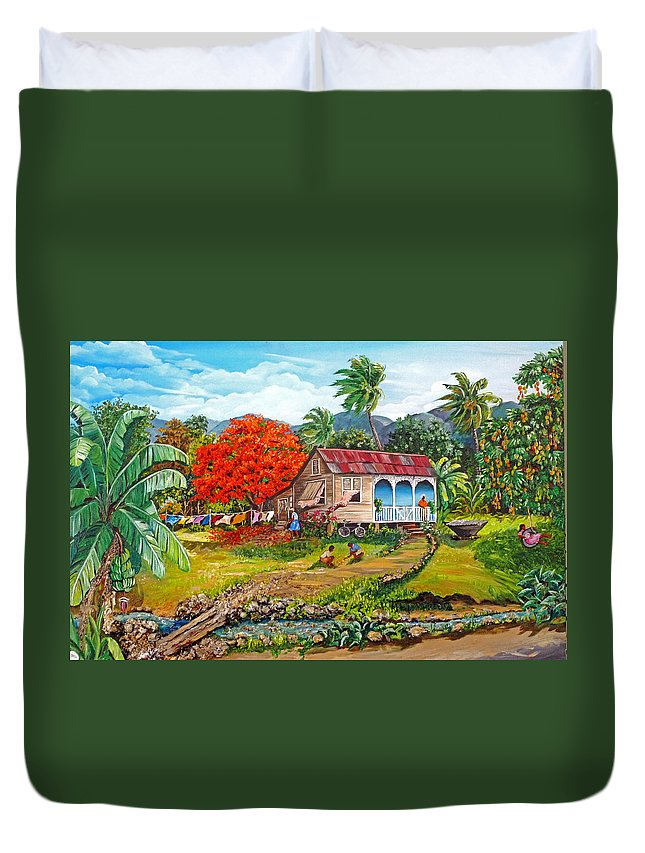 Tropical Scene Caribbean Scene Duvet Cover featuring the painting The Sweet Life by Karin Dawn Kelshall- Best