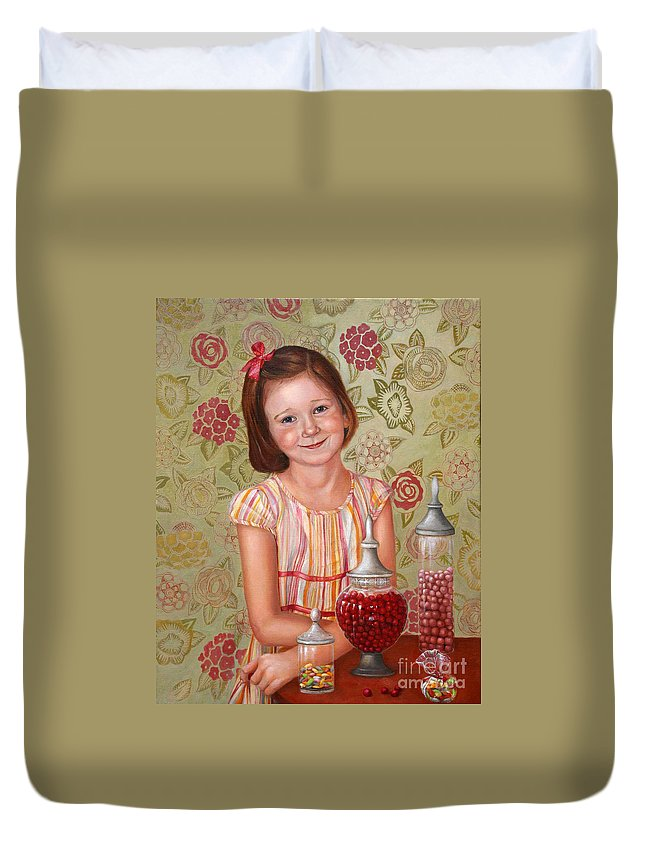 Children Portrait Duvet Cover featuring the painting The Sweet Sneak by Portraits By NC
