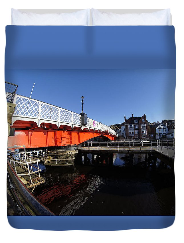 Landscape Duvet Cover featuring the photograph The Swing Bridge by Peter Jenkins