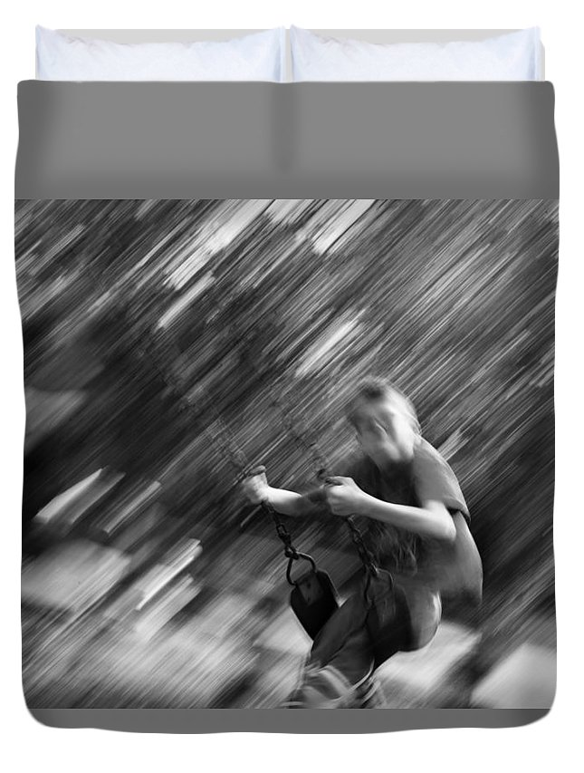 People Duvet Cover featuring the photograph The Swing by J Darrell Hutto