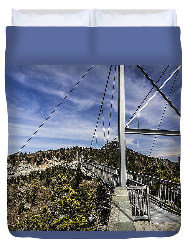 Grandfather Mountain Photography Duvet Cover featuring the photograph The Swinging Bridge Of Grandfather Mountain by Stephen Brown