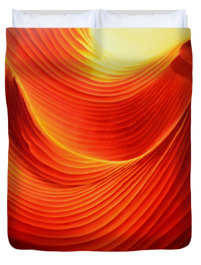 Antelope Canyon Duvet Cover featuring the painting The Swirl by Anni Adkins