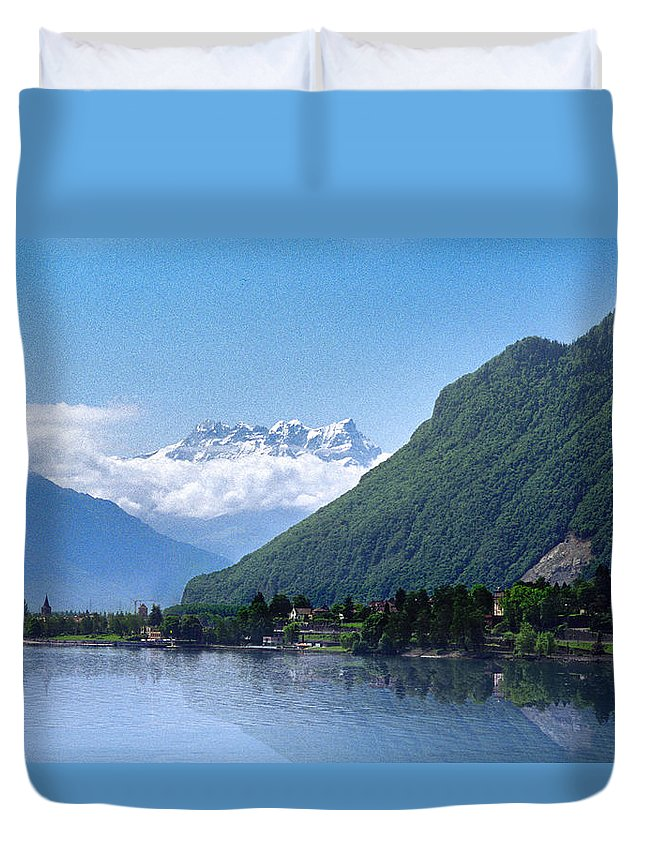 Waterscape Duvet Cover featuring the photograph The Swiss Alps Overlooking Lake Geneva by Dave Sribnik