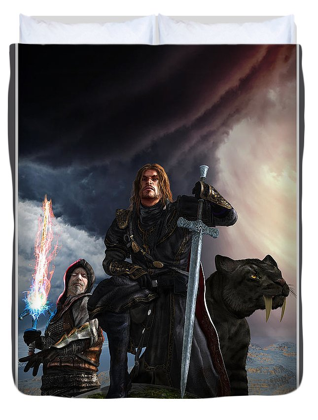 Sword Duvet Cover featuring the digital art The Sword Of The South by Kurt Miller