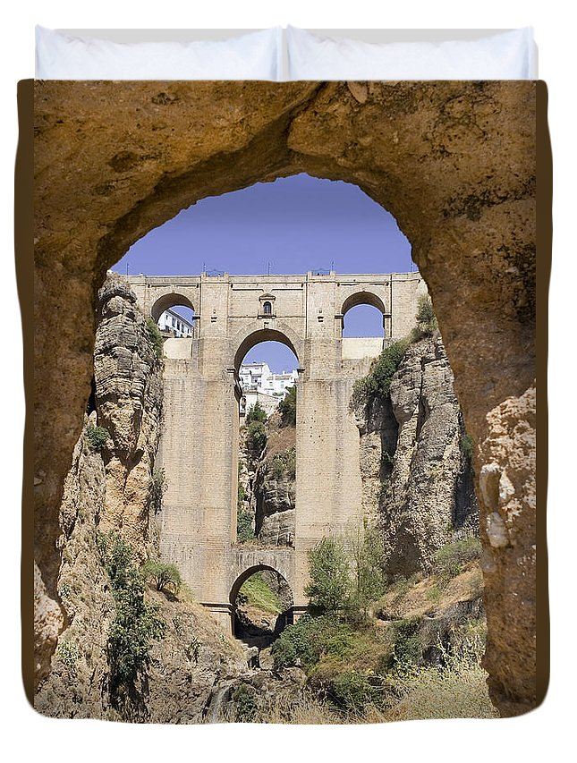 Ronda Duvet Cover featuring the photograph The Tajo De Ronda And Puente Nuevo Bridge Andalucia Spain Europe by Mal Bray