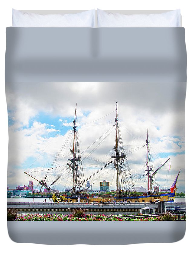 The Duvet Cover featuring the photograph The Tall Ship Hermione - Philadelphia Pa by Bill Cannon