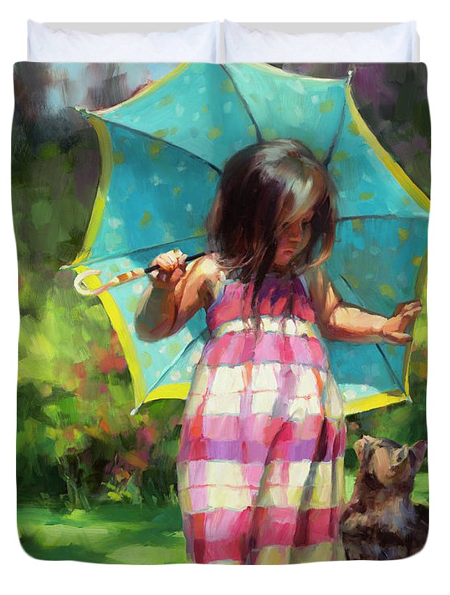 Child Duvet Cover featuring the painting The Teal Umbrella by Steve Henderson