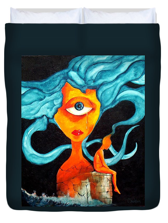 Surrealism Duvet Cover featuring the painting The Tear by Veronica Jackson