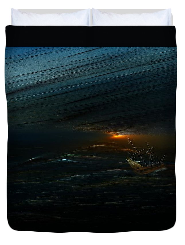 Digital Painting Duvet Cover featuring the digital art The Tempest Revisited by David Lane