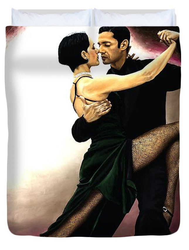 Tango Duvet Cover featuring the painting The Temptation Of Tango by Richard Young