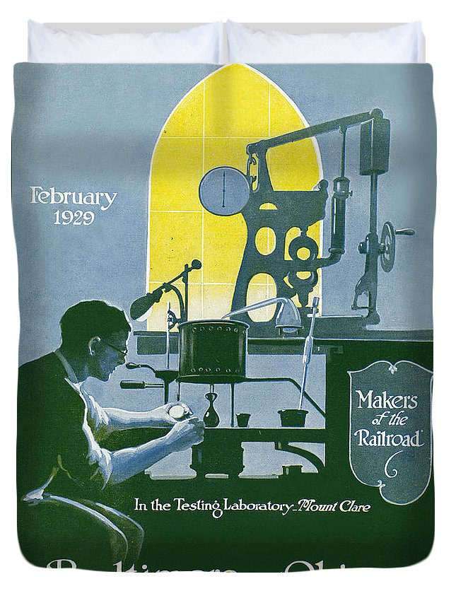 Laboratory Duvet Cover featuring the drawing The Testing Laboratory by Charles Dickson