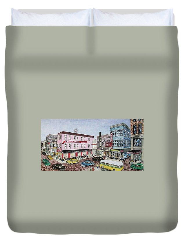 Looking The Other Way From Above The Esplanade Laroy Columbia Lyric Bus Cars Hotel Royal Duvet Cover featuring the painting The Theater District Portsmouth Ohio 1948 by Frank Hunter