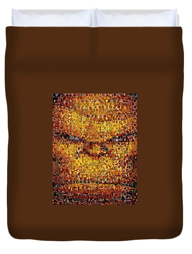 Marvel Duvet Cover featuring the painting The Thing Mosaic by Paul Van Scott