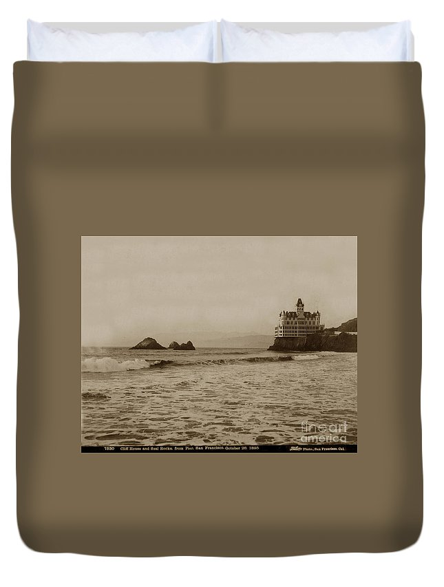 Third Cliff House Duvet Cover featuring the photograph The Third Cliff House And Seal Rocks From Pier, San Francisco, Circa 1895 by California Views Archives Mr Pat Hathaway Archives