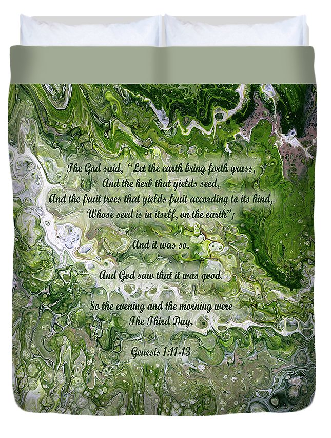 Christian Duvet Cover featuring the painting The Third Day With Scripture by Vicki Hawkins