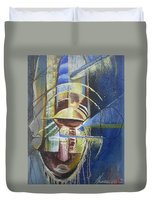 African American Duvet Cover featuring the painting The Third Eye by Hasaan Kirkland