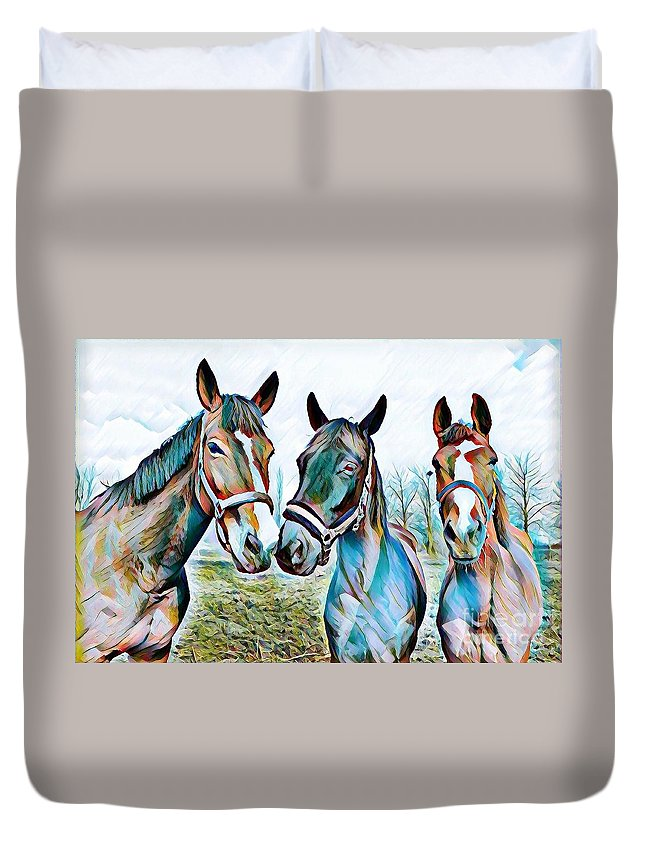 Horse Duvet Cover featuring the mixed media The Three Amigos by Rogue Art