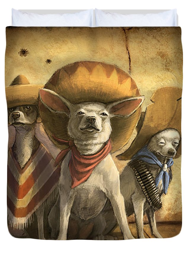 Dogs Duvet Cover featuring the painting The Three Banditos by Sean ODaniels