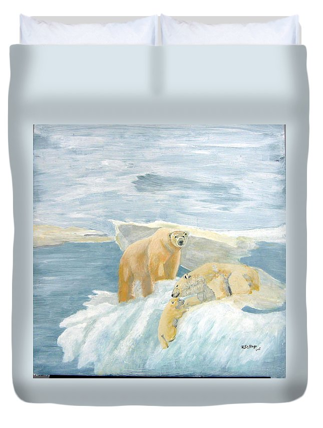 Polar Bears Duvet Cover featuring the painting The Three Bears by Richard Le Page